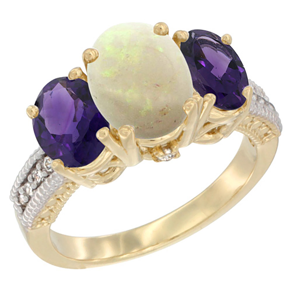 10K Yellow Gold Natural Opal Ring Ladies 3-Stone Oval 8x6mm with Amethyst Sides Diamond Accent, sizes 5 - 10