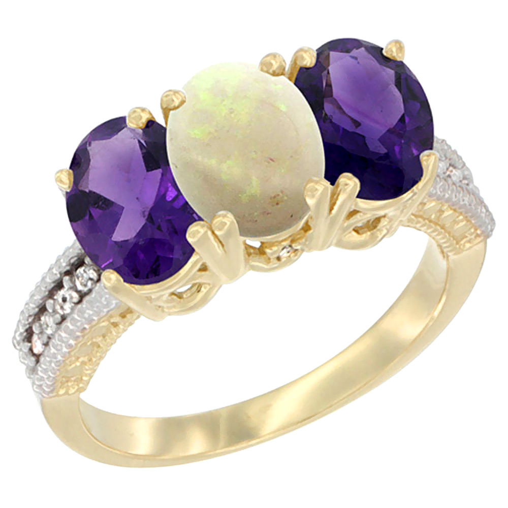 14K Yellow Gold Natural Opal & Amethyst Ring 3-Stone 7x5 mm Oval Diamond Accent, sizes 5 - 10