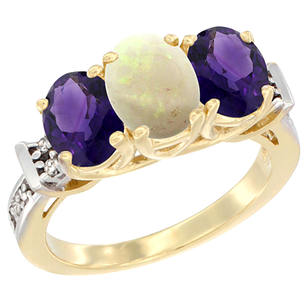 10K Yellow Gold Natural Opal & Amethyst Sides Ring 3-Stone Oval Diamond Accent, sizes 5 - 10