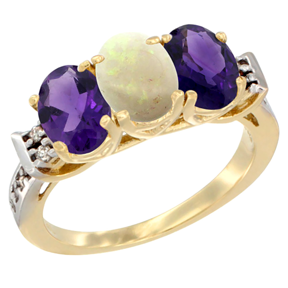 14K Yellow Gold Natural Opal & Amethyst Sides Ring 3-Stone 7x5 mm Oval Diamond Accent, sizes 5 - 10