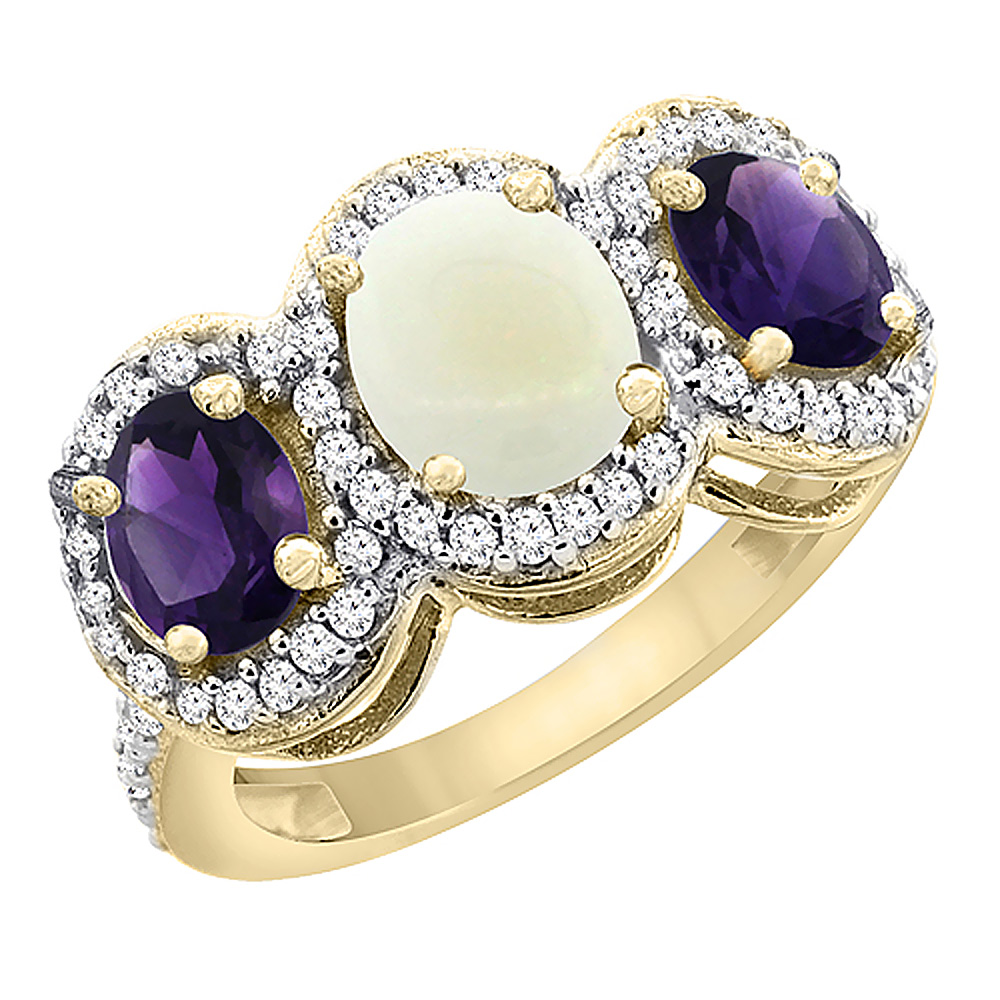 14K Yellow Gold Natural Opal & Amethyst 3-Stone Ring Oval Diamond Accent, sizes 5 - 10