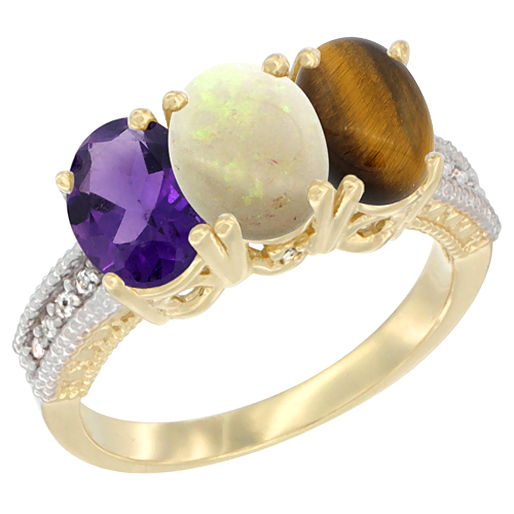 14K Yellow Gold Natural Amethyst, Opal & Tiger Eye Ring 3-Stone 7x5 mm Oval Diamond Accent, sizes 5 - 10