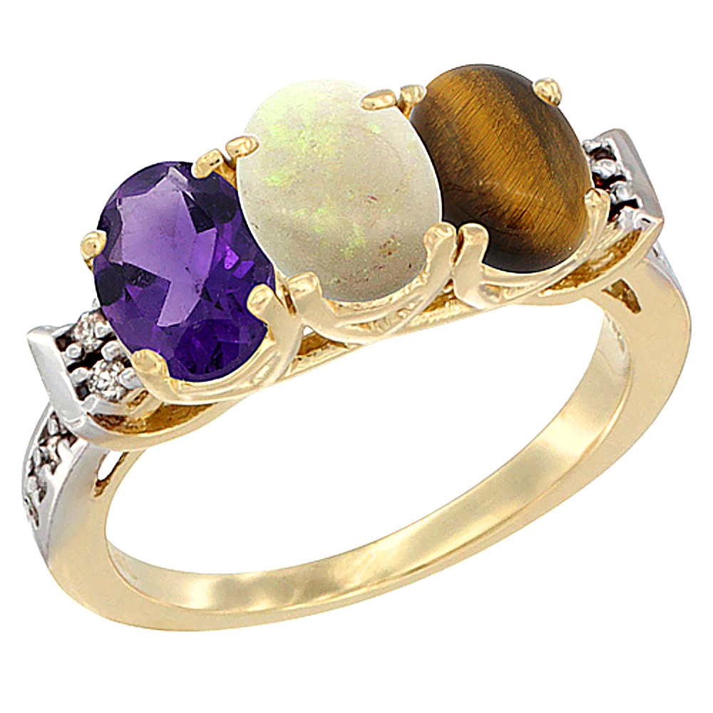 10K Yellow Gold Natural Amethyst, Opal & Tiger Eye Ring 3-Stone Oval 7x5 mm Diamond Accent, sizes 5 - 10