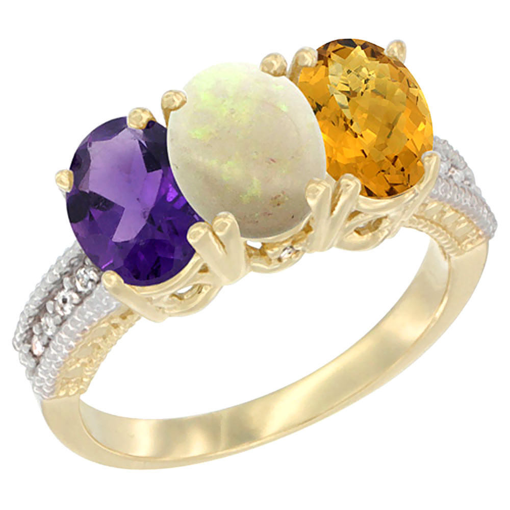 14K Yellow Gold Natural Amethyst, Opal & Whisky Quartz Ring 3-Stone 7x5 mm Oval Diamond Accent, sizes 5 - 10