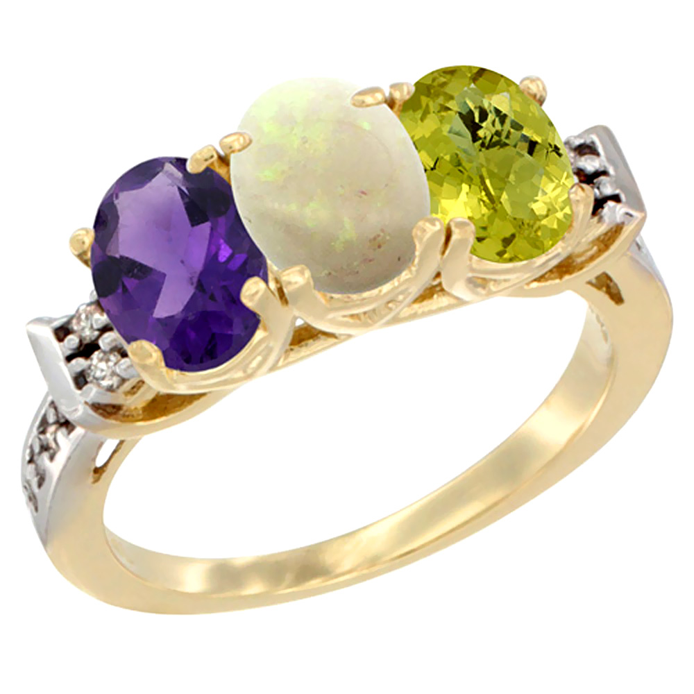 10K Yellow Gold Natural Amethyst, Opal & Lemon Quartz Ring 3-Stone Oval 7x5 mm Diamond Accent, sizes 5 - 10