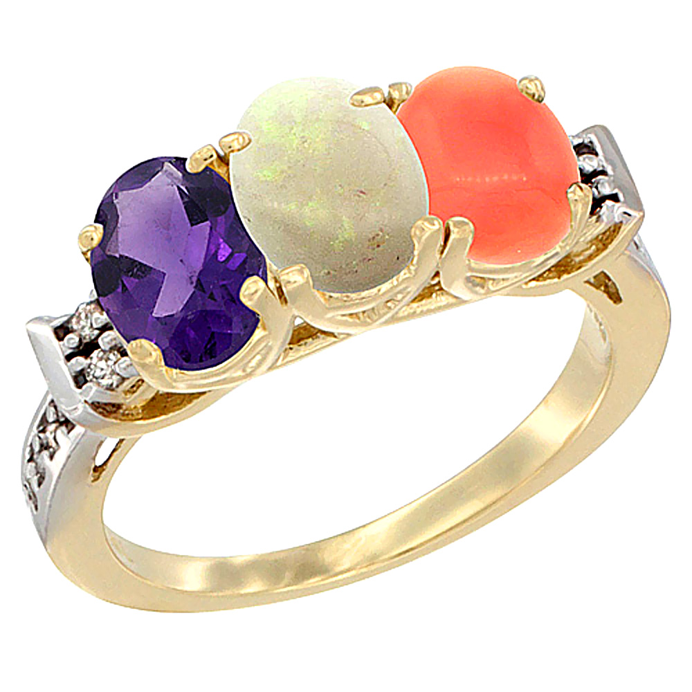14K Yellow Gold Natural Amethyst, Opal & Coral Ring 3-Stone 7x5 mm Oval Diamond Accent, sizes 5 - 10