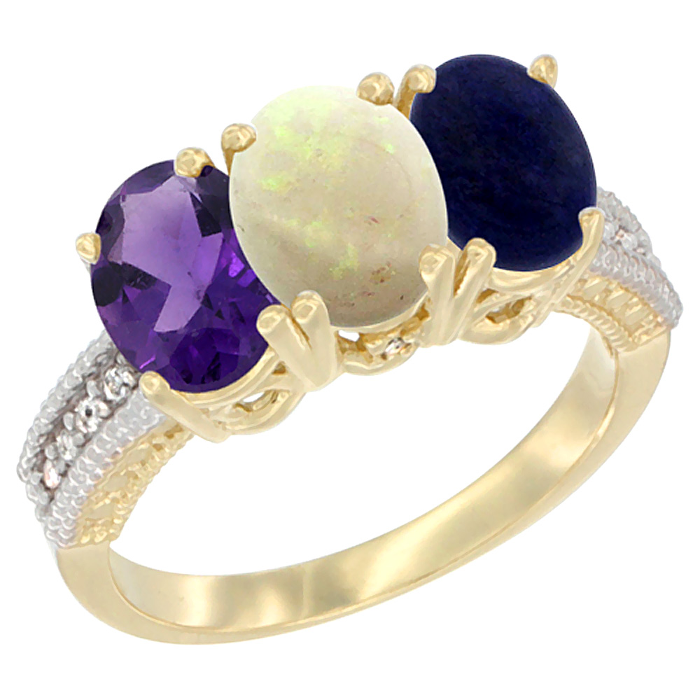 14K Yellow Gold Natural Amethyst, Opal & Lapis Ring 3-Stone 7x5 mm Oval Diamond Accent, sizes 5 - 10