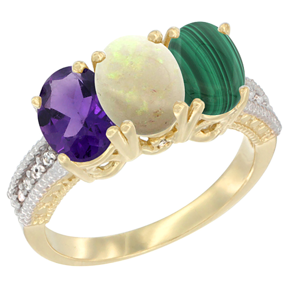 10K Yellow Gold Diamond Natural Amethyst, Opal & Malachite Ring Oval 3-Stone 7x5 mm,sizes 5-10