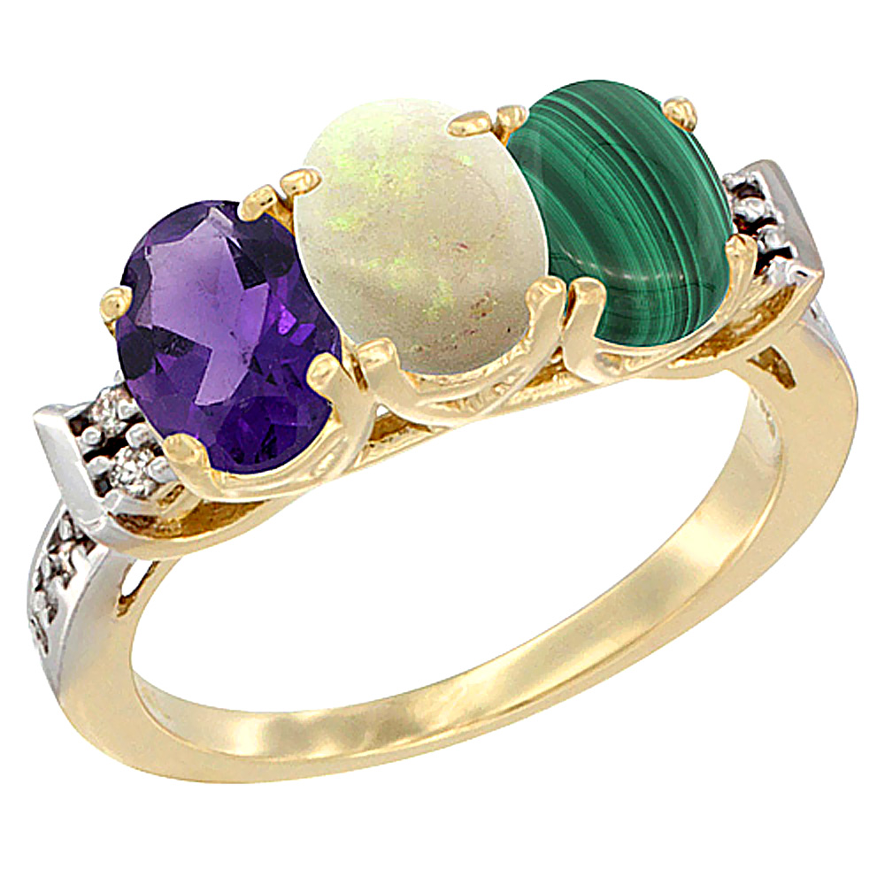 14K Yellow Gold Natural Amethyst, Opal & Malachite Ring 3-Stone 7x5 mm Oval Diamond Accent, sizes 5 - 10
