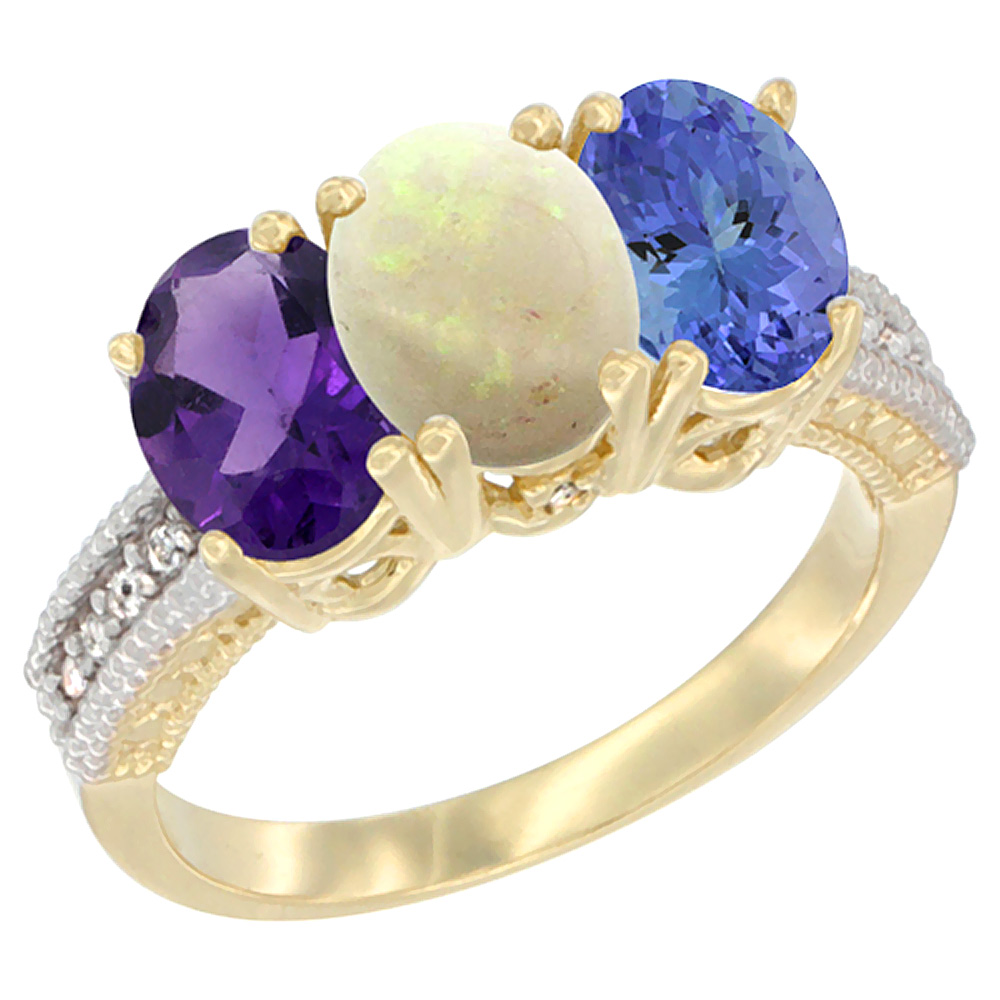 14K Yellow Gold Natural Amethyst, Opal & Tanzanite Ring 3-Stone 7x5 mm Oval Diamond Accent, sizes 5 - 10