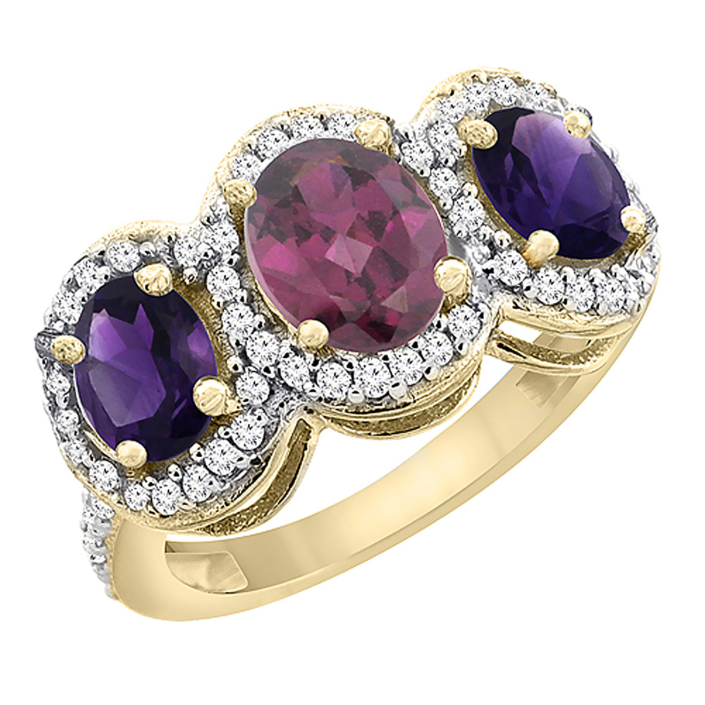 10K Yellow Gold Natural Rhodolite & Amethyst 3-Stone Ring Oval Diamond Accent, sizes 5 - 10