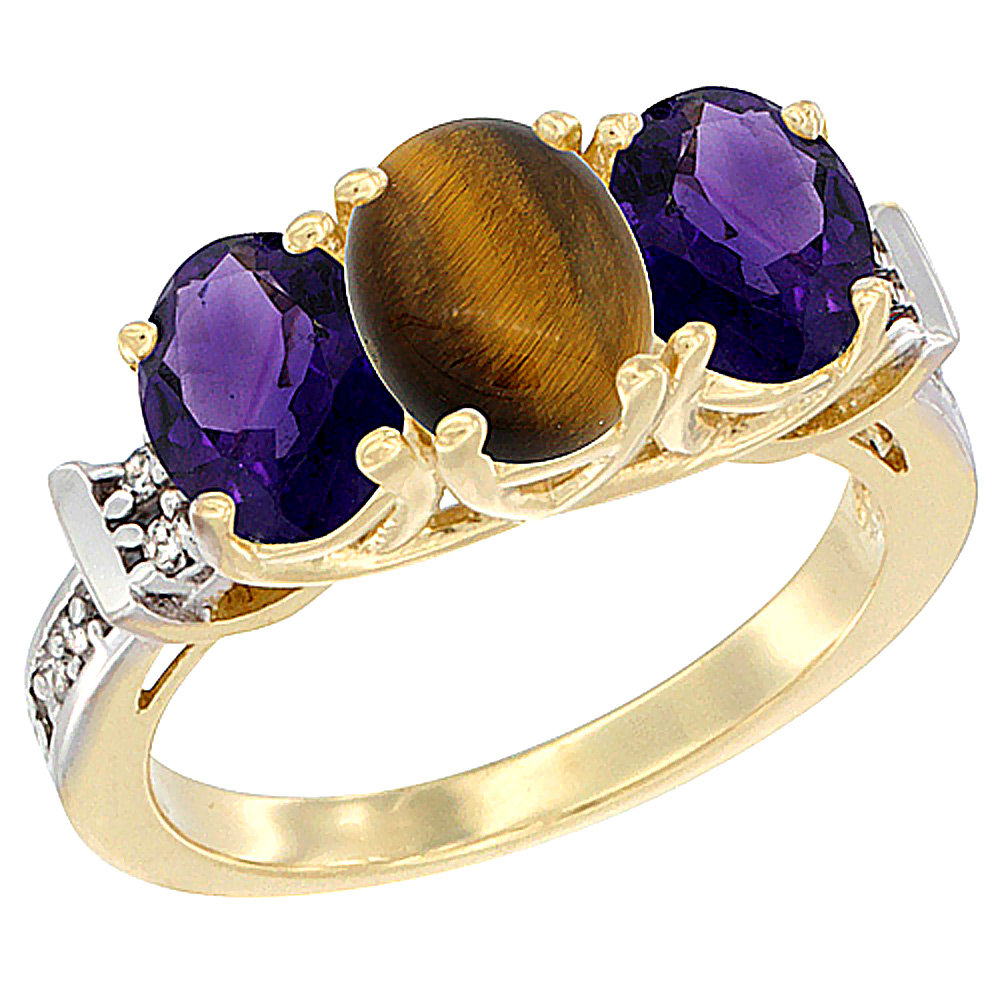 10K Yellow Gold Natural Tiger Eye & Amethyst Sides Ring 3-Stone Oval Diamond Accent, sizes 5 - 10