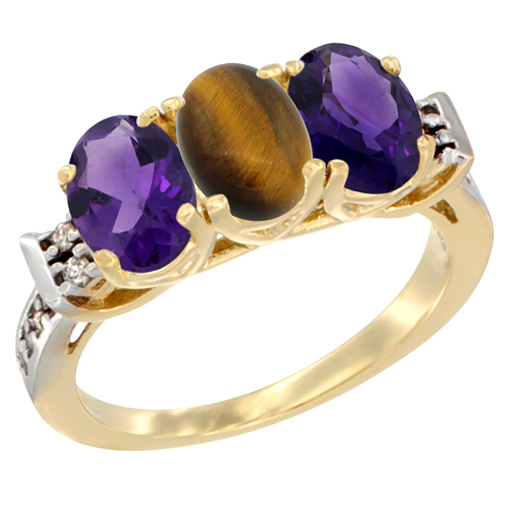 10K Yellow Gold Natural Tiger Eye & Amethyst Sides Ring 3-Stone Oval 7x5 mm Diamond Accent, sizes 5 - 10