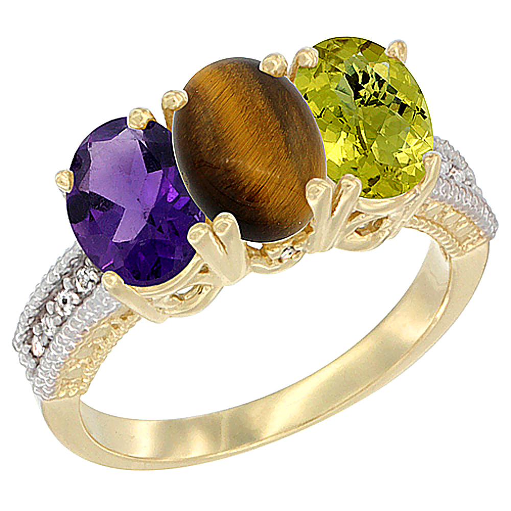 10K Yellow Gold Diamond Natural Amethyst, Tiger Eye & Lemon Quartz Ring Oval 3-Stone 7x5 mm,sizes 5-10