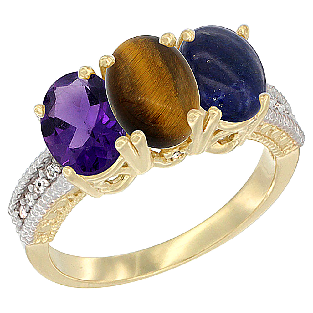 10K Yellow Gold Diamond Natural Amethyst, Tiger Eye & Lapis Ring Oval 3-Stone 7x5 mm,sizes 5-10