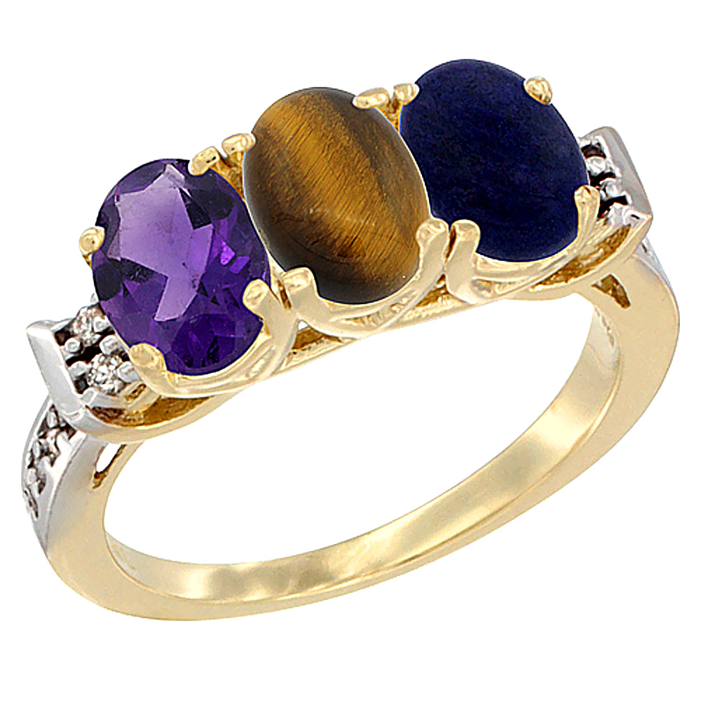 10K Yellow Gold Natural Amethyst, Tiger Eye & Lapis Ring 3-Stone Oval 7x5 mm Diamond Accent, sizes 5 - 10