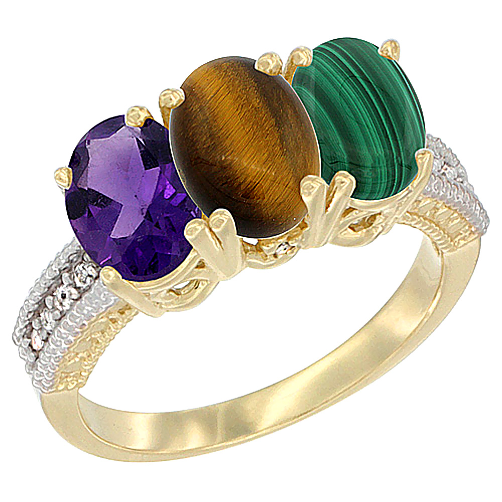 10K Yellow Gold Diamond Natural Amethyst, Tiger Eye & Malachite Ring Oval 3-Stone 7x5 mm,sizes 5-10