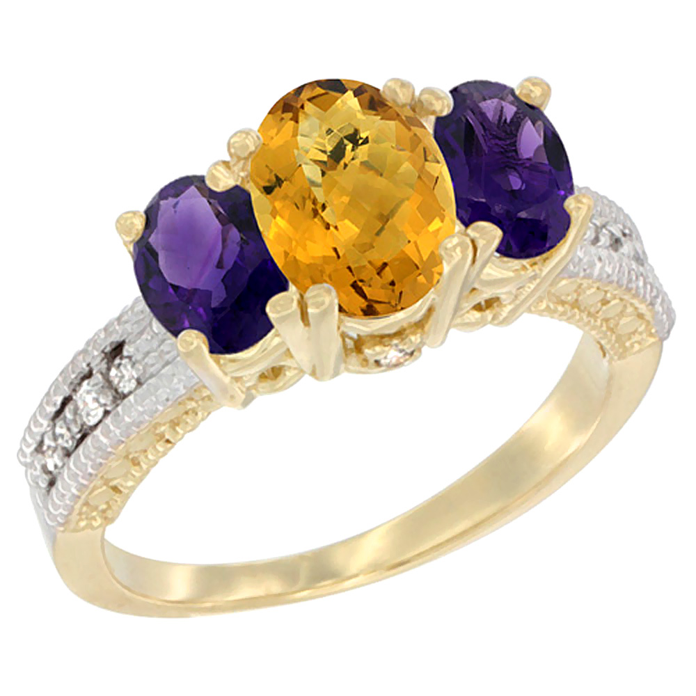10K Yellow Gold Ladies Oval Natural Whisky Quartz Ring 3-stone with Amethyst Sides Diamond Accent