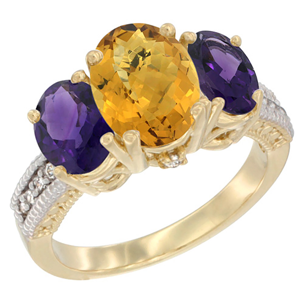 10K Yellow Gold Natural Whisky Quartz Ring Ladies 3-Stone Oval 8x6mm with Amethyst Sides Diamond Accent, sizes 5 - 10