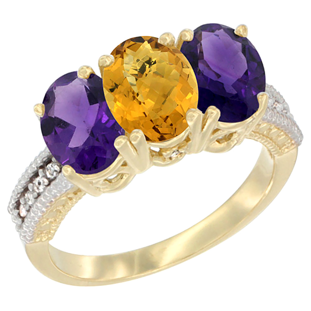 14K Yellow Gold Natural Whisky Quartz & Amethyst Ring 3-Stone 7x5 mm Oval Diamond Accent, sizes 5 - 10