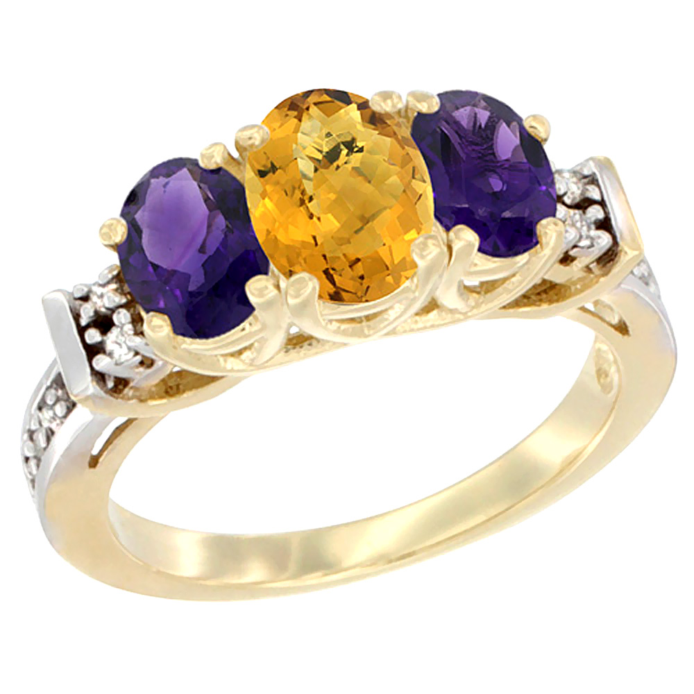 14K Yellow Gold Natural Whisky Quartz & Amethyst Ring 3-Stone Oval Diamond Accent