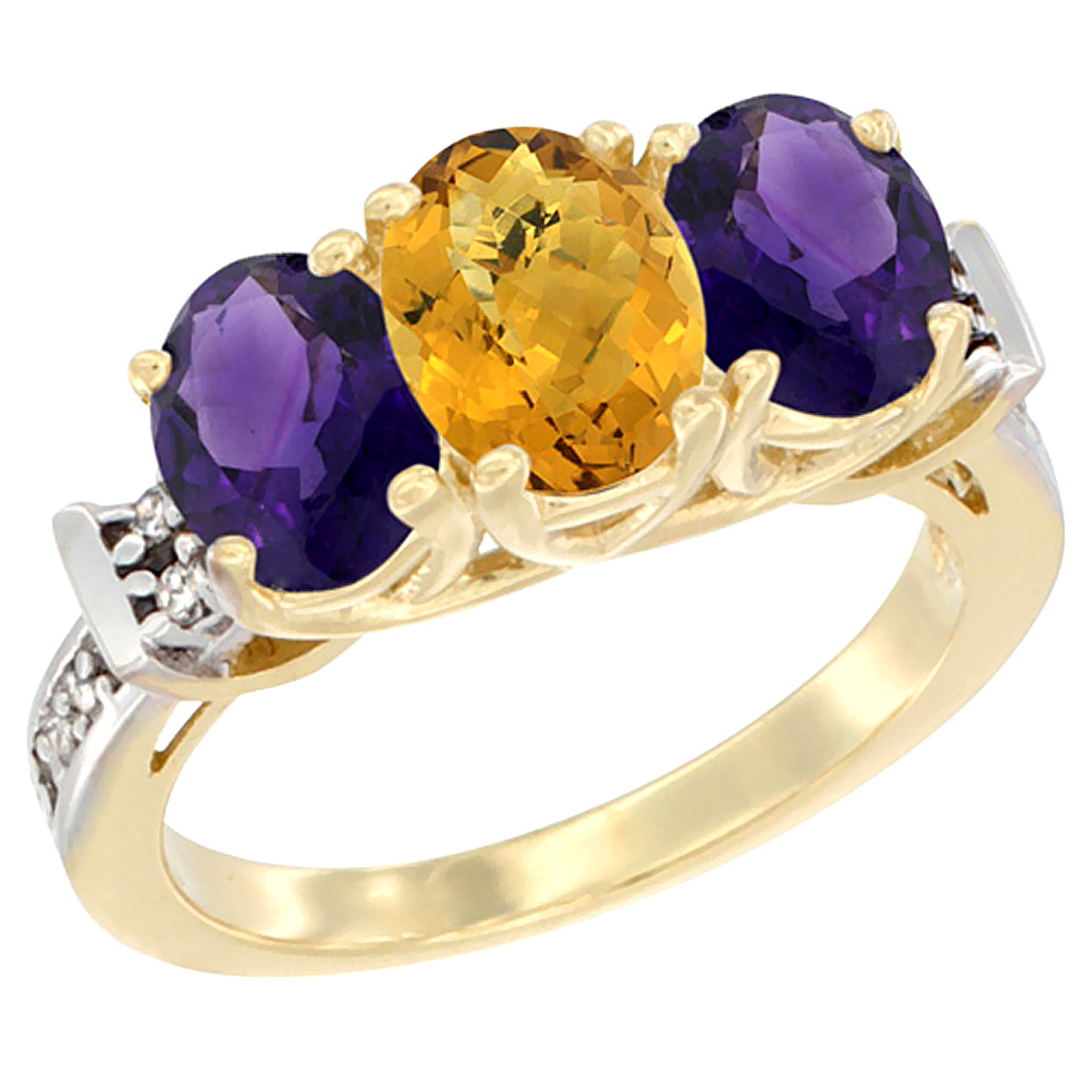 14K Yellow Gold Natural Whisky Quartz & Amethyst Sides Ring 3-Stone Oval Diamond Accent, sizes 5 - 10