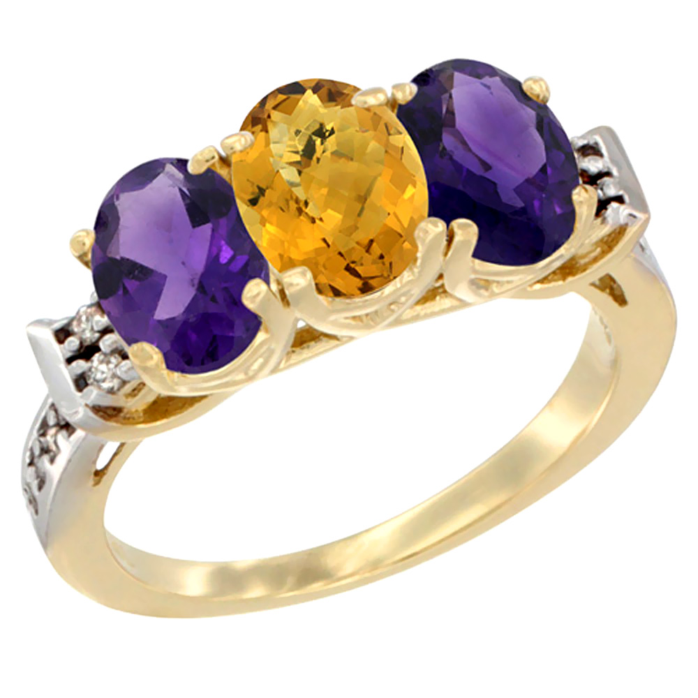 10K Yellow Gold Natural Whisky Quartz & Amethyst Sides Ring 3-Stone Oval 7x5 mm Diamond Accent, sizes 5 - 10