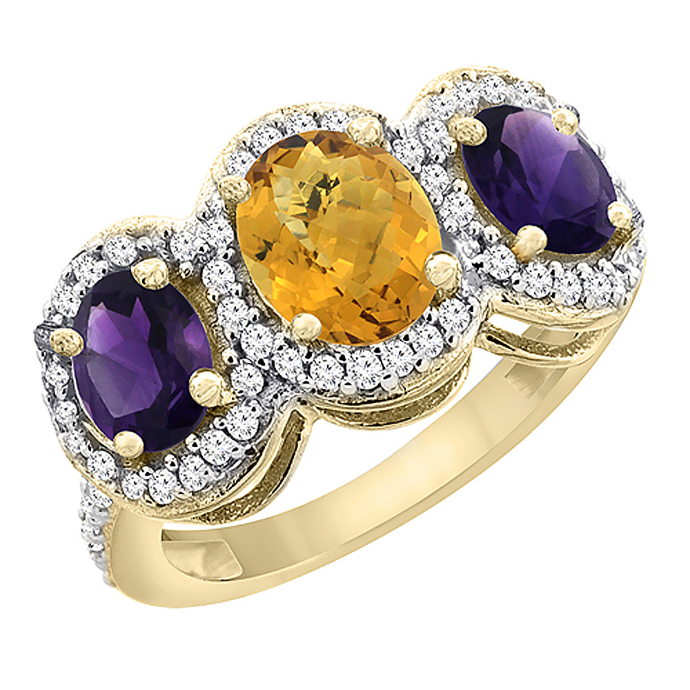 14K Yellow Gold Natural Whisky Quartz & Amethyst 3-Stone Ring Oval Diamond Accent, sizes 5 - 10