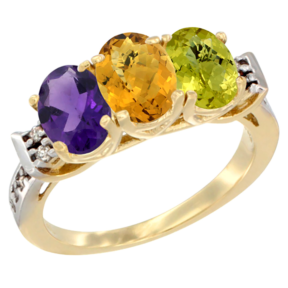 14K Yellow Gold Natural Amethyst, Whisky Quartz & Lemon Quartz Ring 3-Stone 7x5 mm Oval Diamond Accent, sizes 5 - 10
