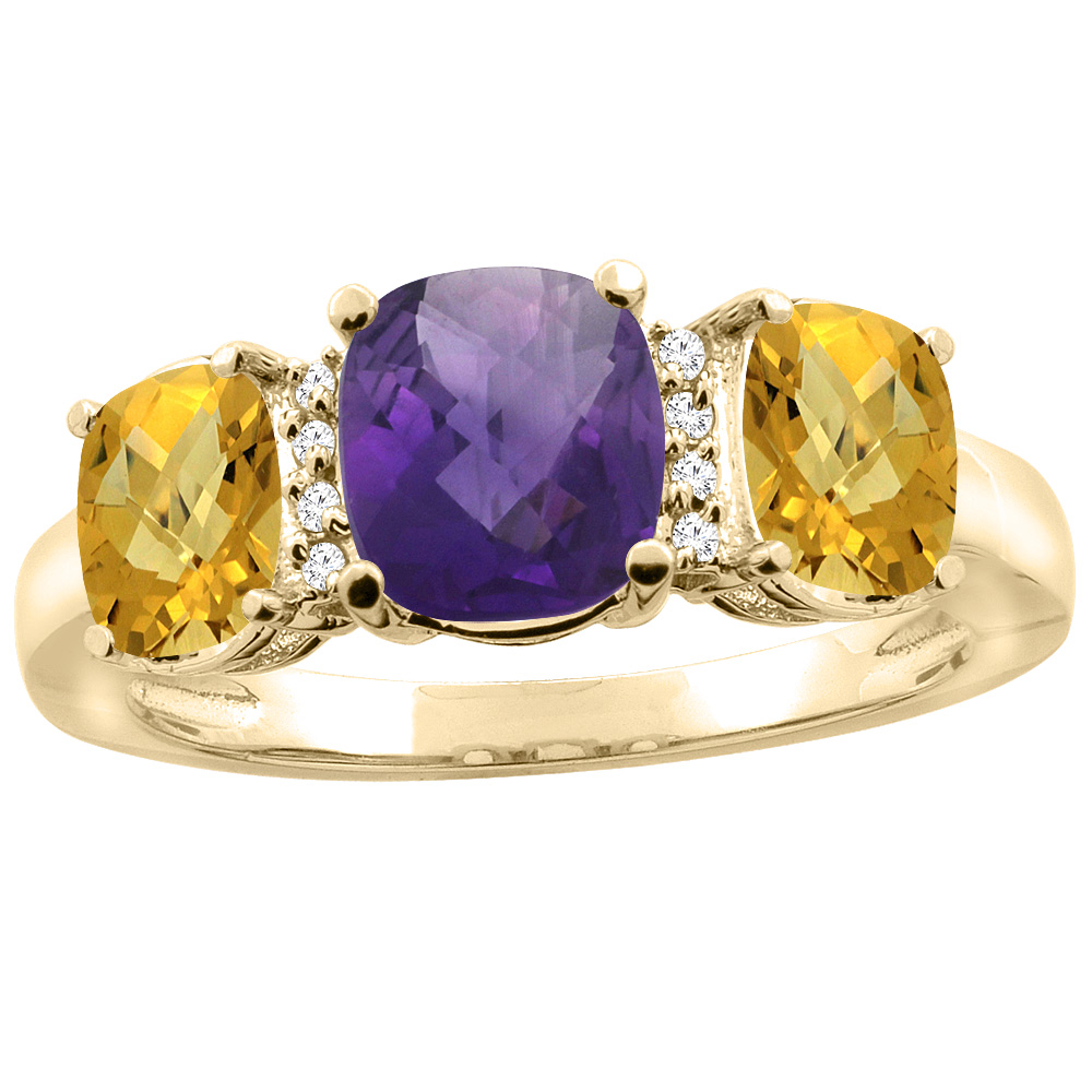 14K Yellow Gold Natural Amethyst & Whisky Quartz 3-stone Ring Cushion 8x6mm Diamond Accent, sizes 5 - 10