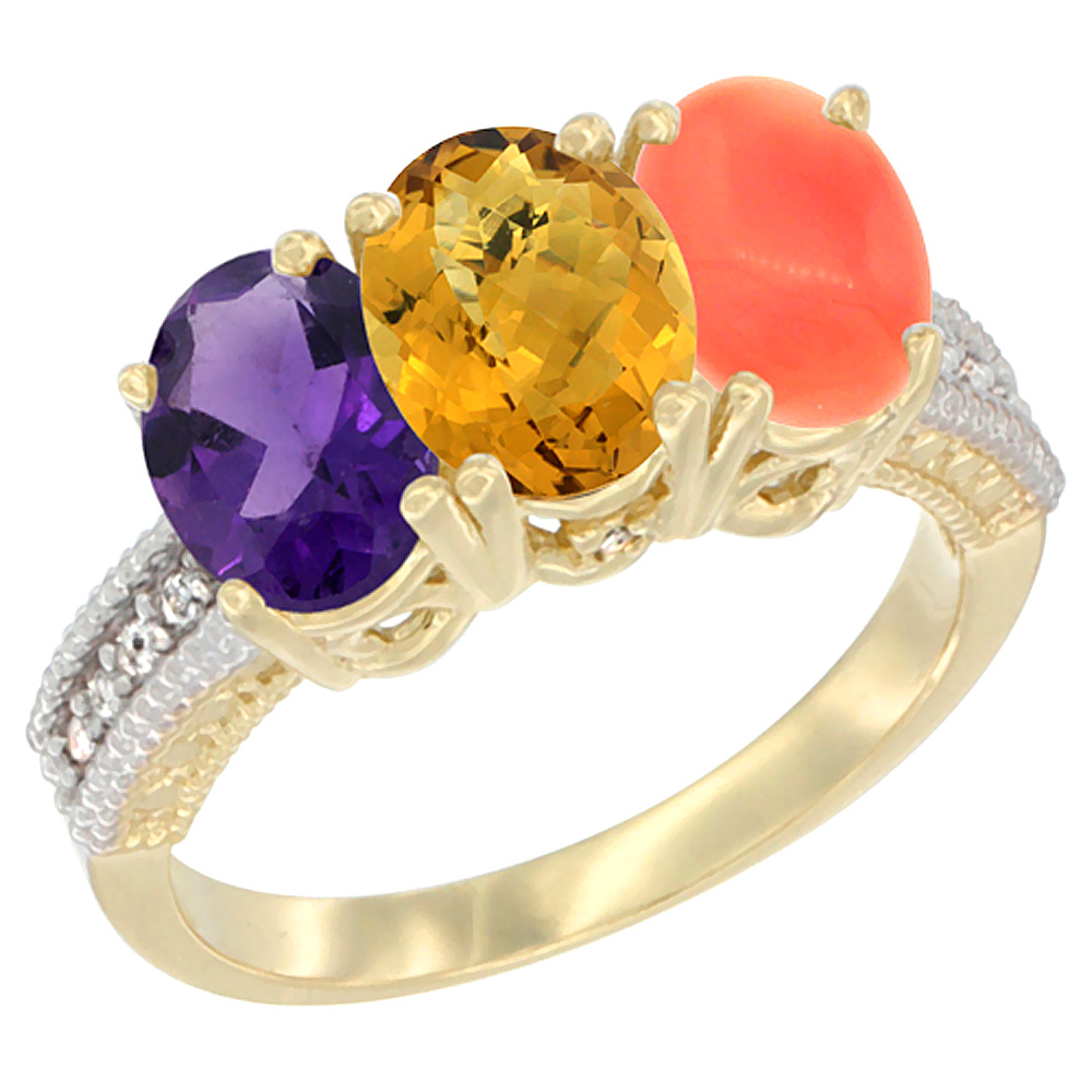 10K Yellow Gold Diamond Natural Amethyst, Whisky Quartz & Coral Ring Oval 3-Stone 7x5 mm,sizes 5-10