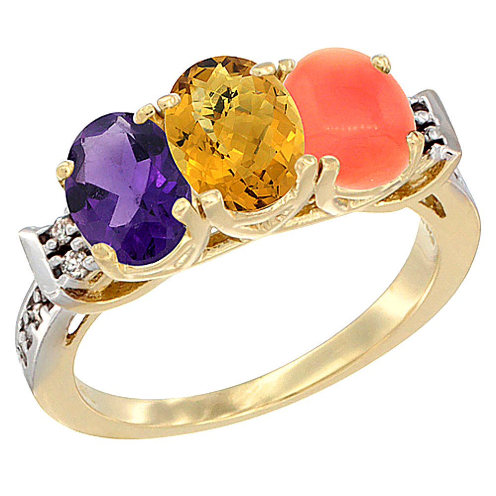 14K Yellow Gold Natural Amethyst, Whisky Quartz & Coral Ring 3-Stone 7x5 mm Oval Diamond Accent, sizes 5 - 10