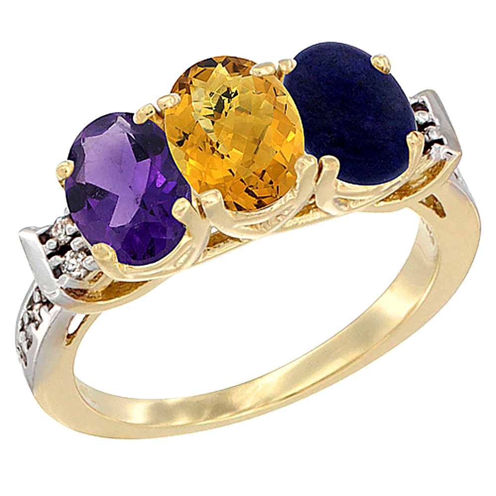 14K Yellow Gold Natural Amethyst, Whisky Quartz & Lapis Ring 3-Stone 7x5 mm Oval Diamond Accent, sizes 5 - 10