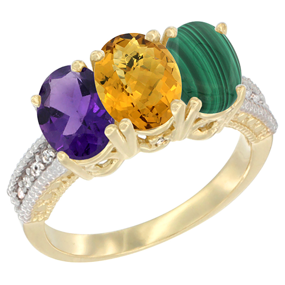 14K Yellow Gold Natural Amethyst, Whisky Quartz & Malachite Ring 3-Stone 7x5 mm Oval Diamond Accent, sizes 5 - 10