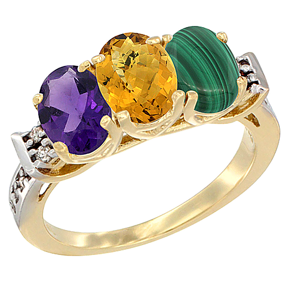 10K Yellow Gold Natural Amethyst, Whisky Quartz & Malachite Ring 3-Stone Oval 7x5 mm Diamond Accent, sizes 5 - 10
