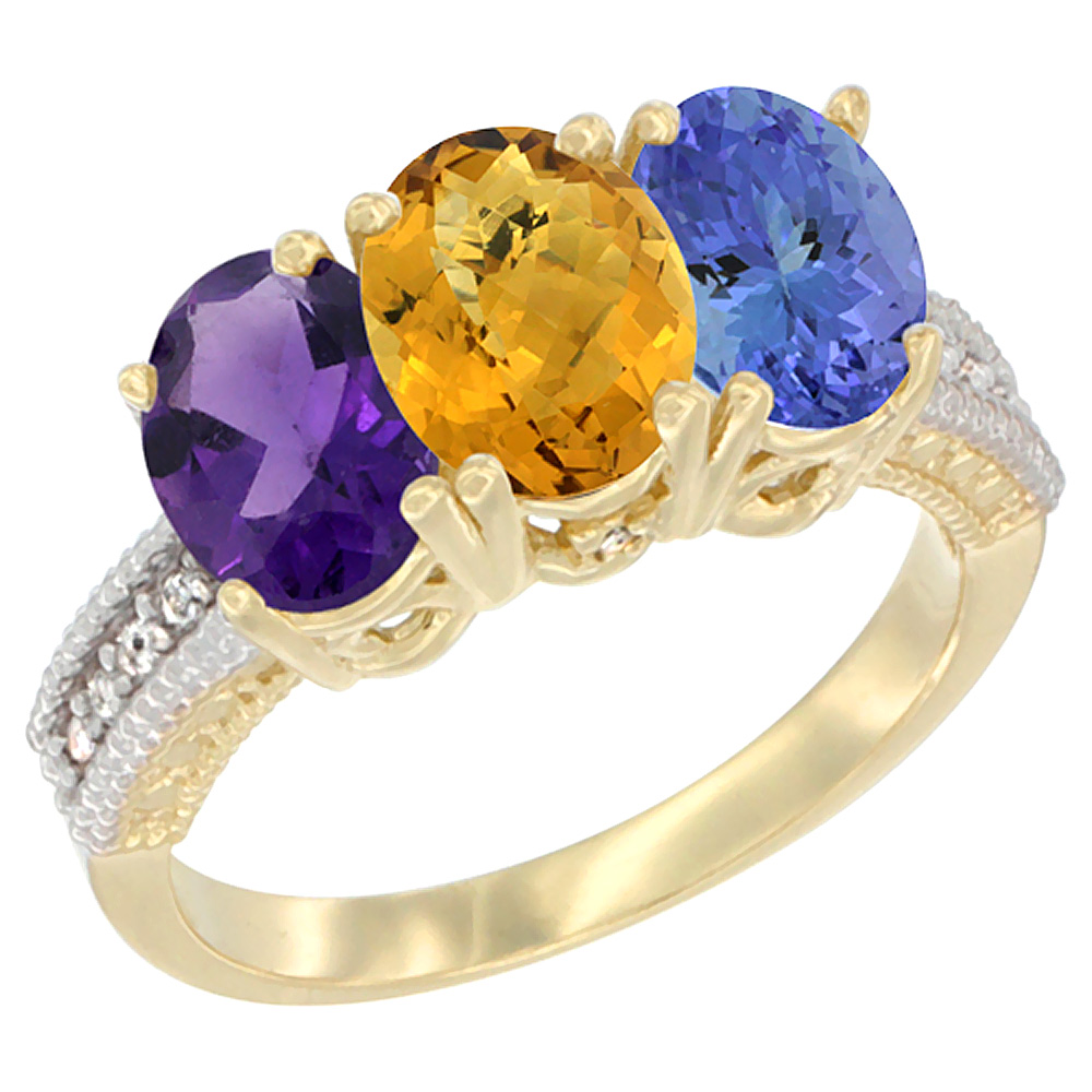 14K Yellow Gold Natural Amethyst, Whisky Quartz & Tanzanite Ring 3-Stone 7x5 mm Oval Diamond Accent, sizes 5 - 10
