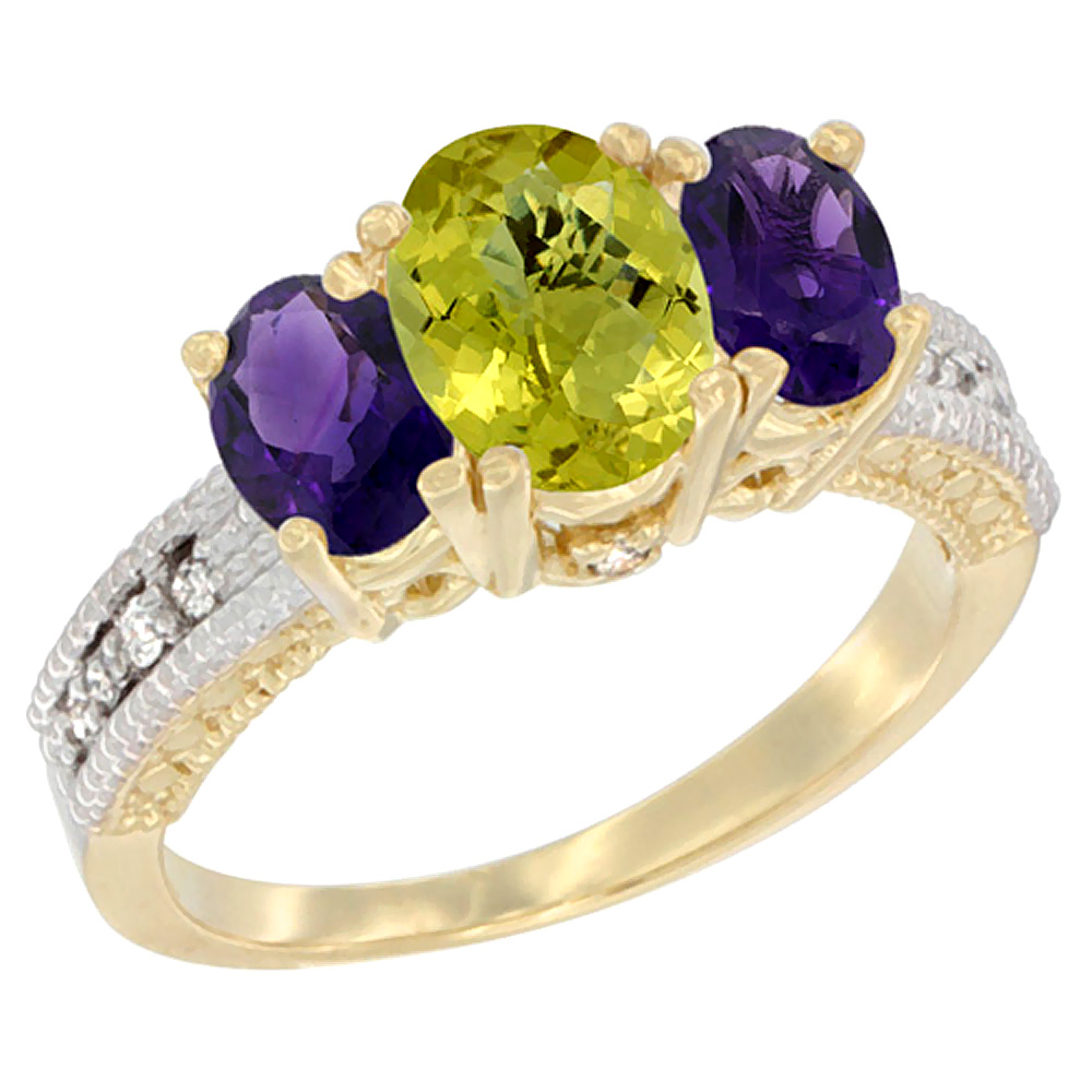 10K Yellow Gold Ladies Oval Natural Lemon Quartz Ring 3-stone with Amethyst Sides Diamond Accent