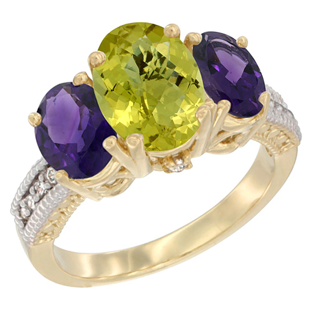 10K Yellow Gold Natural Lemon Quartz Ring Ladies 3-Stone Oval 8x6mm with Amethyst Sides Diamond Accent, sizes 5 - 10