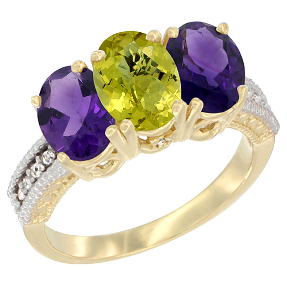 10K Yellow Gold Diamond Natural Lemon Quartz & Amethyst Ring Oval 3-Stone 7x5 mm,sizes 5-10