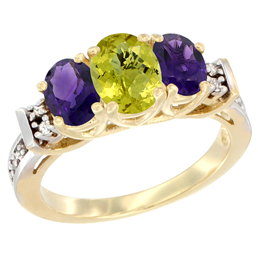 14K Yellow Gold Natural Lemon Quartz & Amethyst Ring 3-Stone Oval Diamond Accent