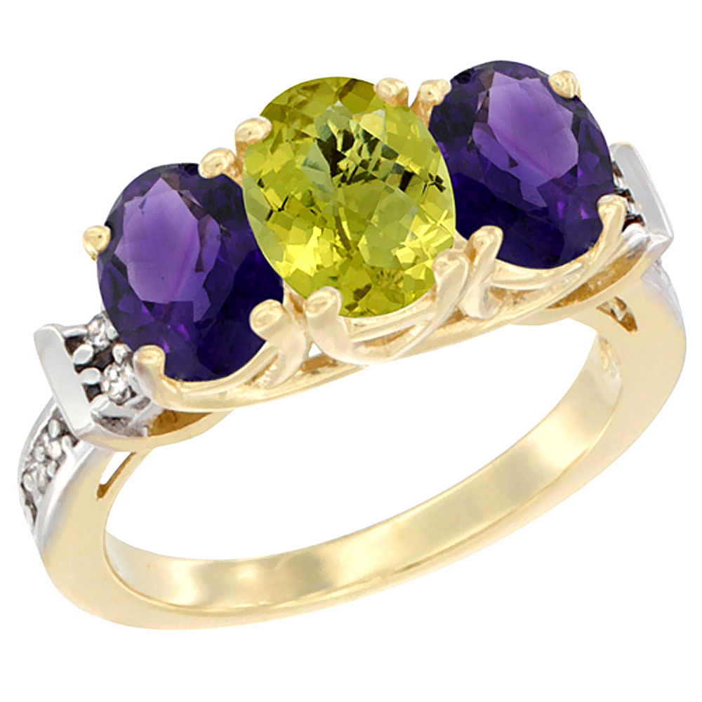 10K Yellow Gold Natural Lemon Quartz & Amethyst Sides Ring 3-Stone Oval Diamond Accent, sizes 5 - 10