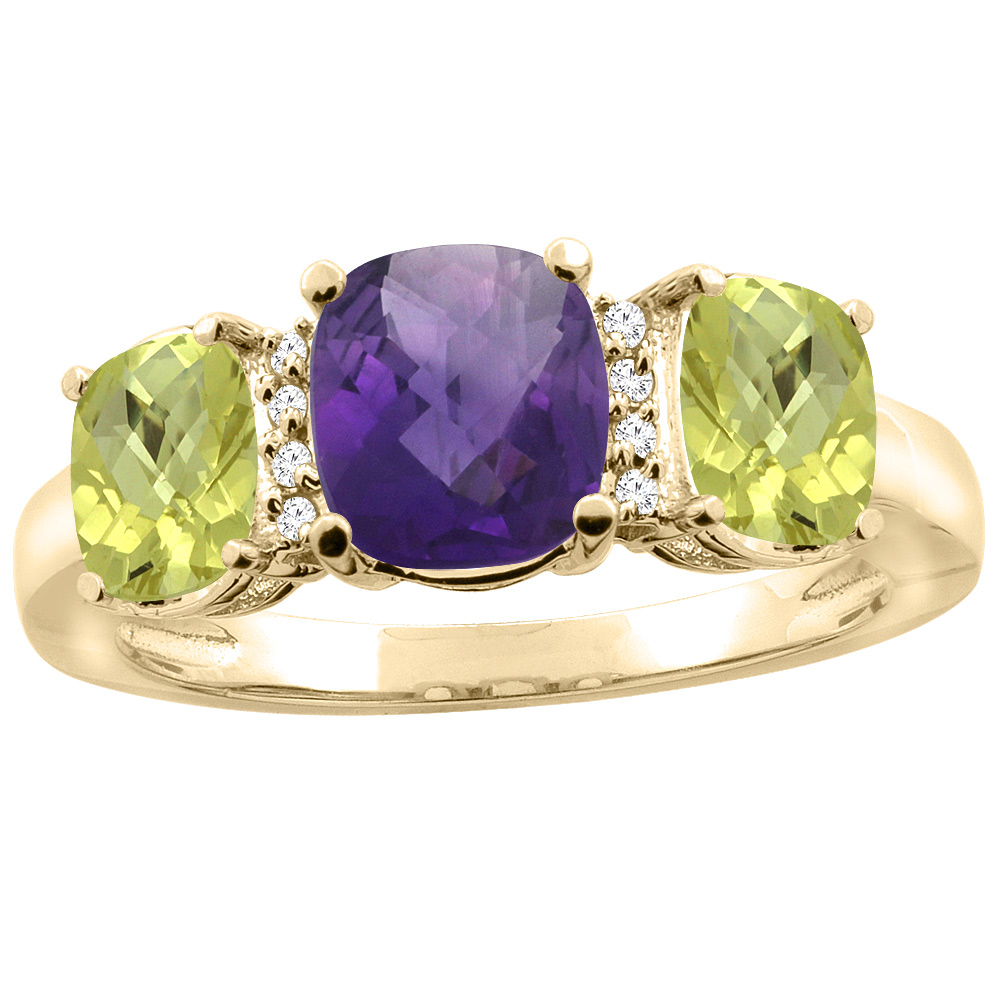10K Yellow Gold Natural Amethyst & Lemon Quartz 3-stone Ring Cushion 8x6mm Diamond Accent, sizes 5 - 10