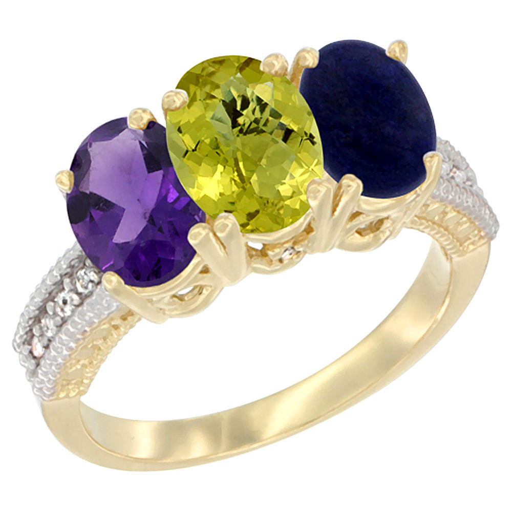 10K Yellow Gold Diamond Natural Amethyst, Lemon Quartz & Lapis Ring Oval 3-Stone 7x5 mm,sizes 5-10