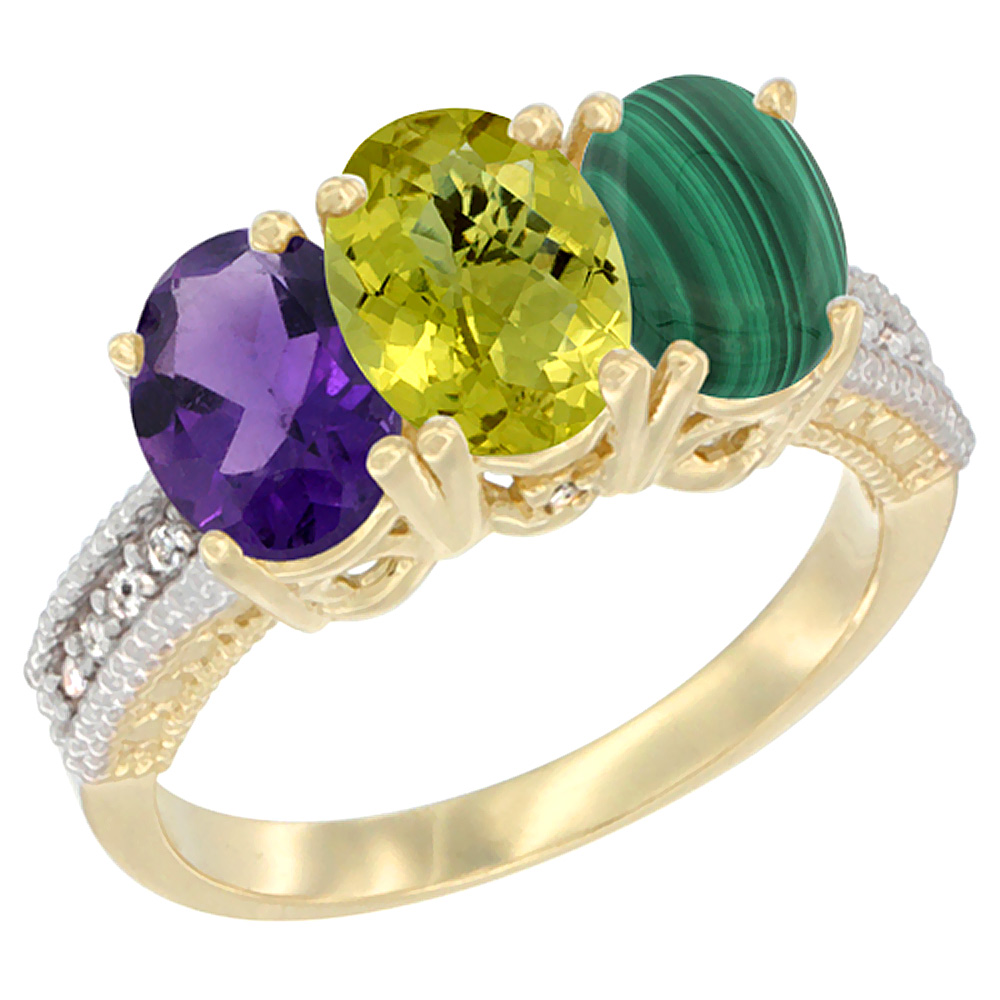 10K Yellow Gold Diamond Natural Amethyst, Lemon Quartz & Malachite Ring Oval 3-Stone 7x5 mm,sizes 5-10
