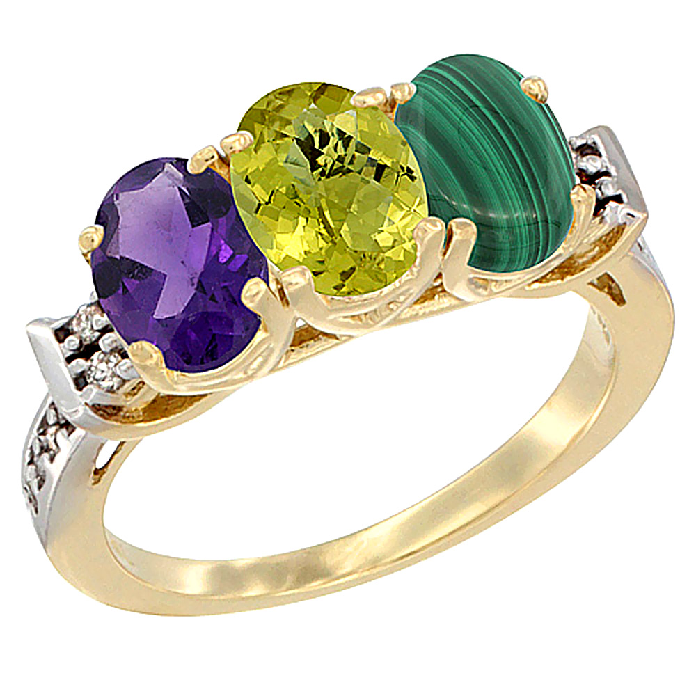 10K Yellow Gold Natural Amethyst, Lemon Quartz & Malachite Ring 3-Stone Oval 7x5 mm Diamond Accent, sizes 5 - 10