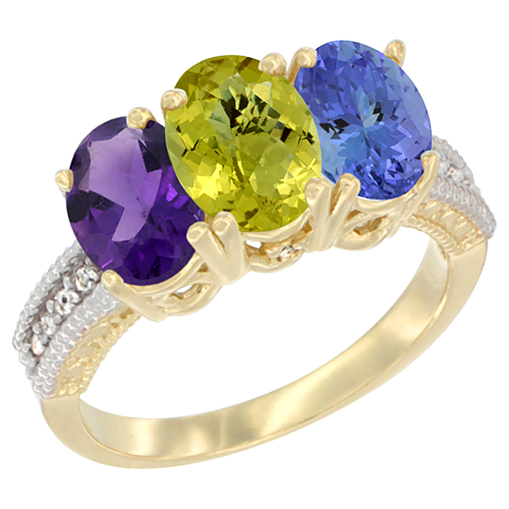 10K Yellow Gold Diamond Natural Amethyst, Lemon Quartz & Tanzanite Ring Oval 3-Stone 7x5 mm,sizes 5-10