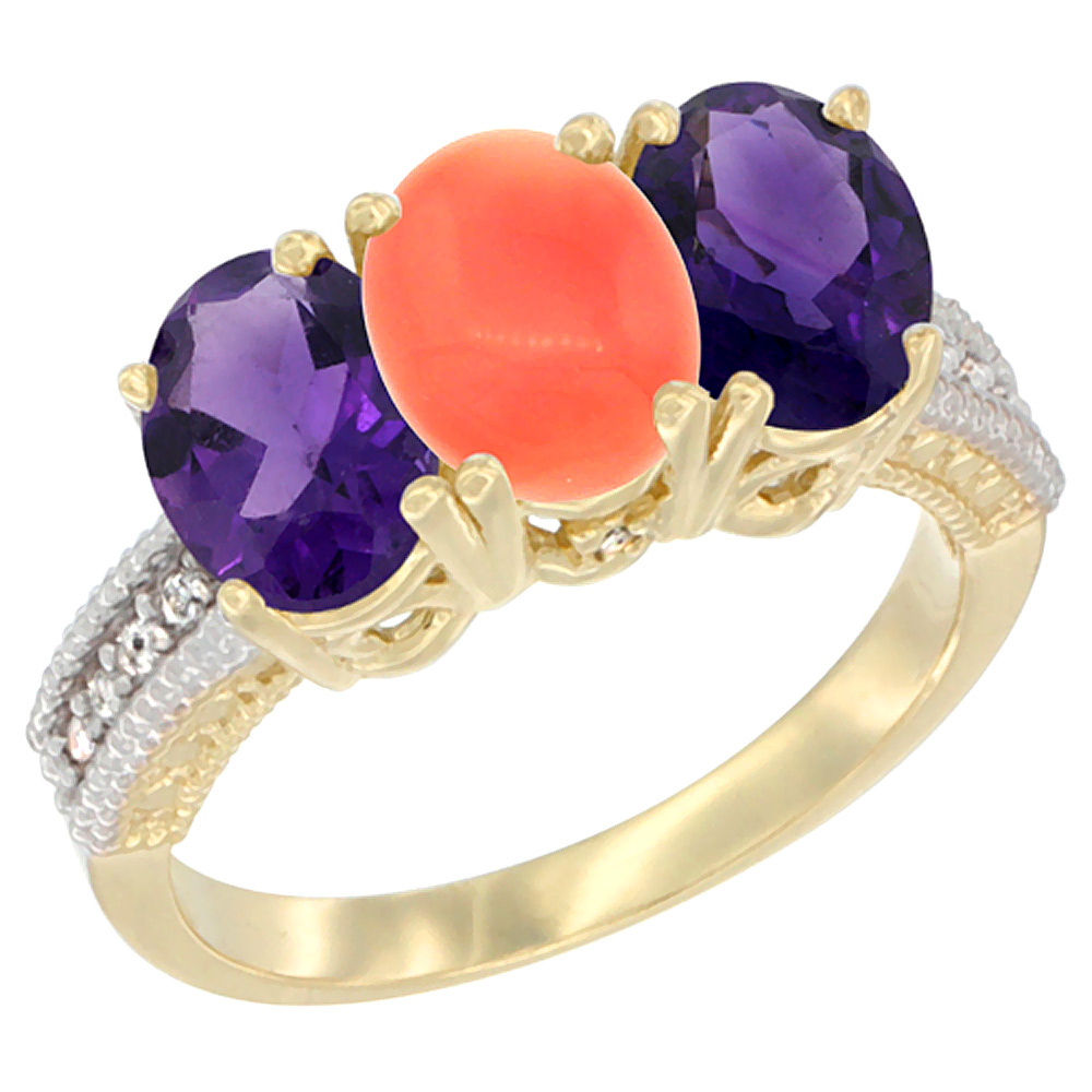 14K Yellow Gold Natural Coral & Amethyst Ring 3-Stone 7x5 mm Oval Diamond Accent, sizes 5 - 10