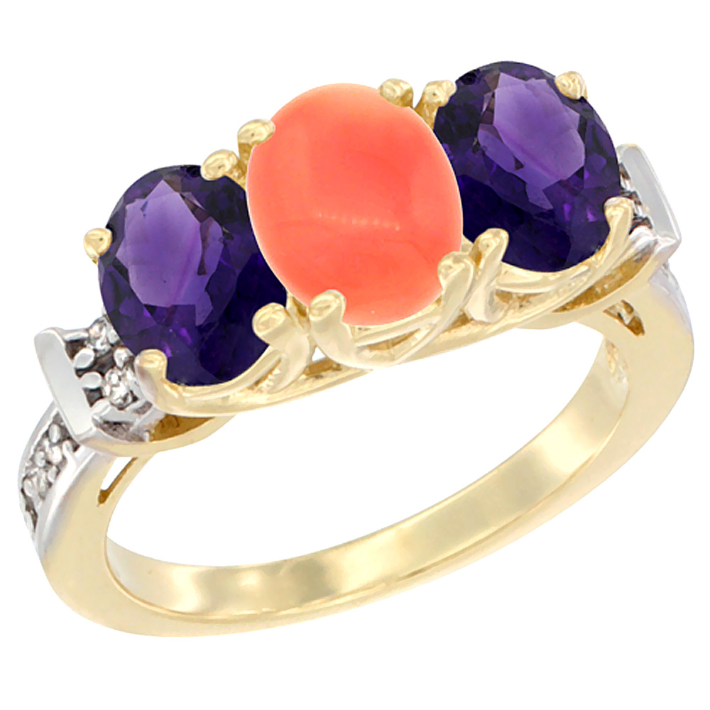 10K Yellow Gold Natural Coral & Amethyst Sides Ring 3-Stone Oval Diamond Accent, sizes 5 - 10