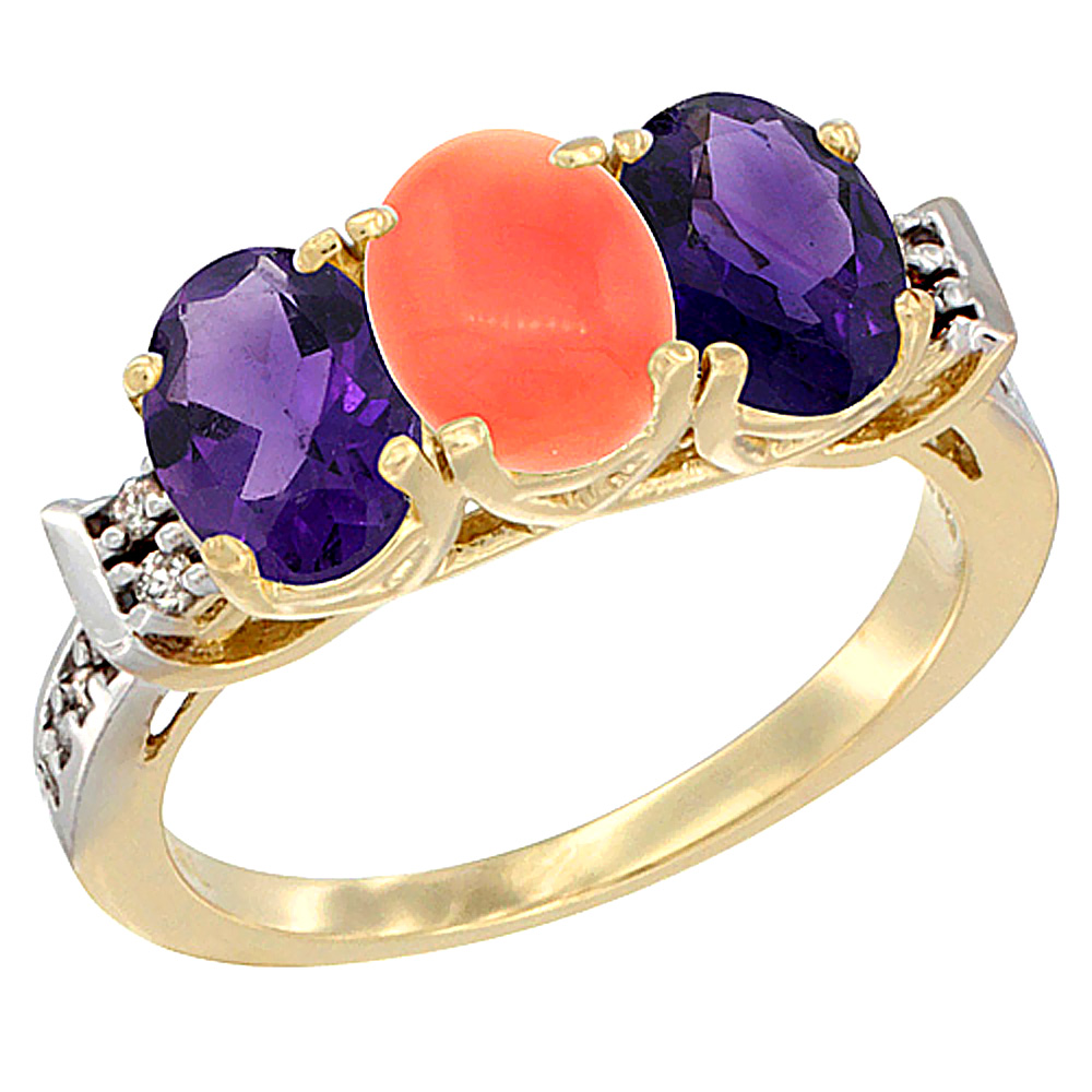 14K Yellow Gold Natural Coral & Amethyst Sides Ring 3-Stone 7x5 mm Oval Diamond Accent, sizes 5 - 10