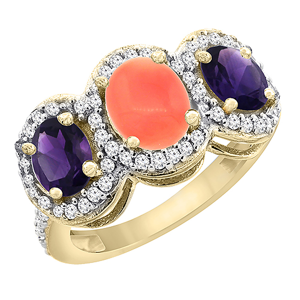 14K Yellow Gold Natural Coral & Amethyst 3-Stone Ring Oval Diamond Accent, sizes 5 - 10